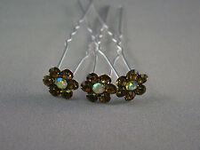 3 Pieces Crystal Flower Wedding Bridal Hair Pin