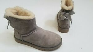 AUTHENTIC UGGS WOMENS DIXI FLORA PERF GREY SUEDE ANKLE BOW BOOTS Sz. 7