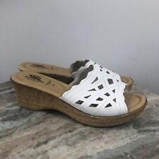 SPRING STEP ITALY LEATHER WHITE WEDGE HEEL SANDALS SIZE 9 EURO 39 WORE ONCE -G