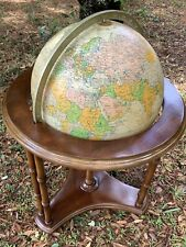 "Vintage Replogle Heirloom Series Lighted 16"" Floor Chair-side Globe with Casters"