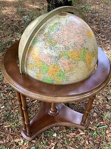 "Vintage Replogle Heirloom Series Lighted 16"" Floor Chair-side Globe with Casters"