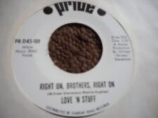 """LOVE N STUFF """"RIGHT ON BROTHERS RIGHT ON"""" 7"""" WHITE LABEL PROMO 45 MINT"""