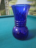 """Vintage cobalt  blue  glass vase 6.75"""" 3 RINGS"""