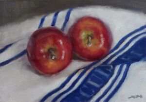 """""""Apples"""" original fine art still life oil painting by Xiaomei Griffiths"""