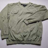 FootJoy Mens Windbreaker L Pullover V-Neck Olive Green Long Sleeve Golf I37