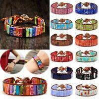 NEW Women 7 Chakra Bracelet Handmade Natural Stone Leather Creative Bangle Gift