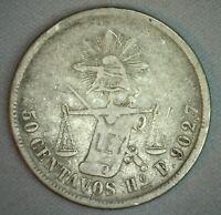 1877 Mexico 50 Centavos Coin You Grade Silver 50c