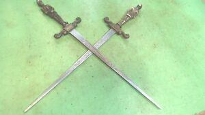 Vintage- Brass & Steel -2- Medieval Soldier Handled Letter Openers--MINI-SWOARDS