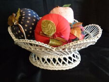White Wicker Basket With 5 Fabric Apples ,Apple Decor