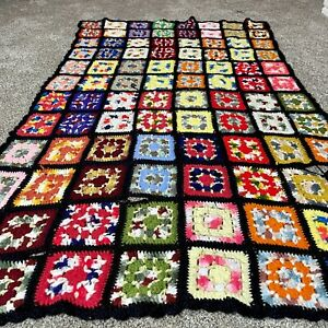 Vintage Handmade Crochet Granny Square Afghan Throw Blanket Neon 69in X 45in