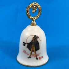 "Tiny Tim Christmas Norman Rockwell Gorham 1981 Porcelain Bell 4"" Gold Handle"