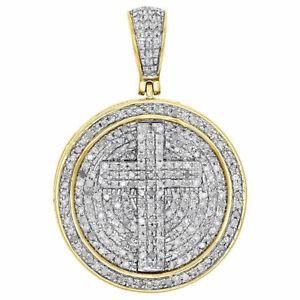 2Ct Round Cut Diamond Cross Unisex Pendant Charm 14K Yellow Gold Over Free Chain