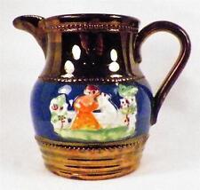 Antique Copper Luster Pitcher Creamer Girl on Bench Blue Band Pink Orange Dress