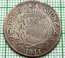 GERMAN STATES - BAVARIA Maximillian I Joseph 1814 6 KREUZER, BILLON