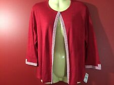 TALBOTS Petites Women's Red Silk Blend Cardigan Sweater - Size 4P - NWT $188