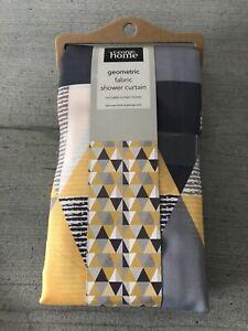 Geometric Fabric Shower Curtain - Grey, Yellow, White Triangles - Brand New