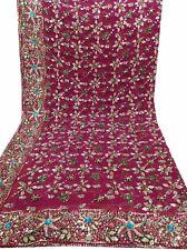Om Vintage Dupatta Bridal Georgette Zardozi Work Pink Scarves Hijab W-1769
