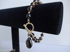 14K Yellow Gold Faceted Smoky Quartz Bracelet Toggle Clasp, Pear Teardrop Charm