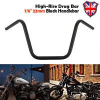 "Black Motorcycle Cruiser Chopper Bobber 7/8"" 22mm Handlebar High-Rise Drag Bar"
