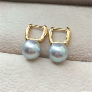 cute ladies 8-8.5mm Japanes round premium Akoya gray blue pearl earring 18k gold
