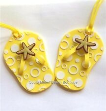 Yellow Starfish Flip Flop Luggage Tag 2 Tags Purse Backpack Diaper Bag ID Badge