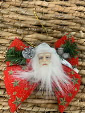 Vintage Santa Head On Bow Ribbon Christmas Ornament