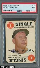 1968 Topps Game #2 Mickey Mantle Yankees RC Rookie PSA 1 PR