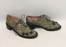 BNIB ROCHAS Ladies Green Floral Brocade Embroidered Lace Up Derby Shoes UK3 EU36
