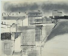 City Buildings/Rooftops Mixed Media Drawing-1960-August Mosca