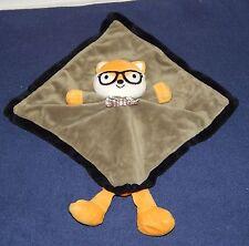 "12"" Baby Starters Olive Green & Orange Plush Fox Security Blanket w/ Rattle 2014"