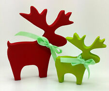 RED GREEN REINDEERS DEER STAG CHRISTMAS DECORATION SHABBY CHIC HOME