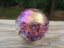 """1992 GES Glass Eye Studio Iridescent Dichroic 1.75"""" PAPERWEIGHT w/Bubbles EC NR"""