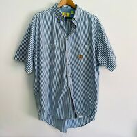 Duck Head Men's Short Sleeve Vintage Shirt Large Blue/White Striped Cotton EUC