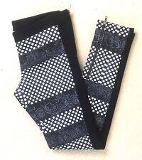 Russian CostumeNemutsoC Striped Leggings Roses Black & White Zipped Ankles UK 8