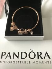 Pandora Moments Rose Gold Pave' Padlock Clasp Chain Bracelet With  6 Charms BNIB