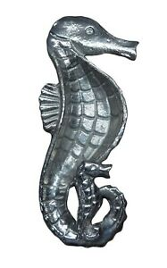 Seahorse with Baby Shaped Serving Dish Aluminum 8 Inches