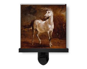 White Cossack Horse Vintage Style Animal Art Glass Photo Night Light