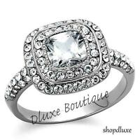 2.55 Ct Halo Cushion Cut CZ Stainless Steel Engagement Ring Band Women's Sz 5-10