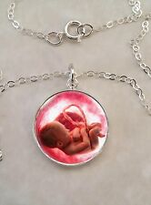 Sterling Silver 925 Pendant Necklace Baby Fetus Womb Medical Science Midwife