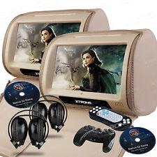 """2X Beige 9"""" Touch Car Dual DVD Player Pillow Headrest Monitor Game IR Headphones"""