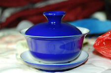 Blue Glazed Chinese Porcelain Gaiwan Lid Saucer Coaster Bowl Gong Fu Cup New