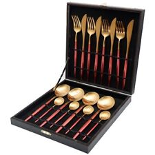 Cutlery Tableware set Stainless Steel Dinner Forks Knives Christmas red Gift box