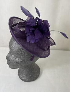 HAT BOX - Ladies Purple Sinamay Fascinator Feather Detail Wedding/Races In Box