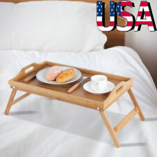 Folding Legs Bamboo Bed Tray Table Serving Breakfast Laptop Computer Tray Home