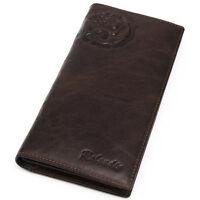 Men's Genuine Leather Long Wallet Credit Card Holders Zipper Coin Pocket Purse