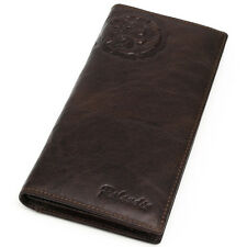 Vintage Men's Genuine Leather Long Wallet 11 Card Slots Zippered Coin Pocket