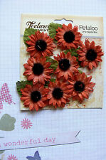 SUNFLOWERS Canvas FALL with Black Cntr & Leaves 9 per Pk - 30-35mm Petaloo PetA
