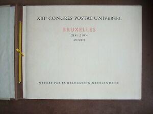 Netherlands Nederland PTT Brussels 1952 UPU Congress presentation folder