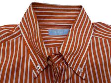 ALTEA MILANO Orange & White Stripe Shirt M 15.75 40 Made in Italy RARE!