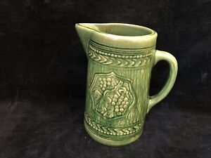 """ANTIQUE~MC COY~POTTERY STONEWARE~TANKARD/PITCHER~GRAPES & LEAVES~GREEN~8-1/4"""""""